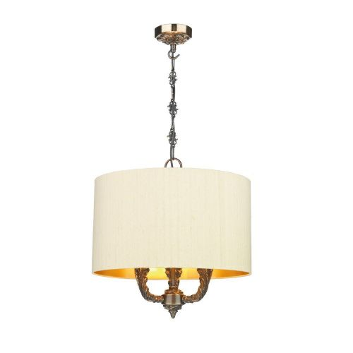 Valerio Pendant Bronze + Silk Shade (Gold lining) (Specify Colour), VAL0300/GD (7-10 day Delivery)